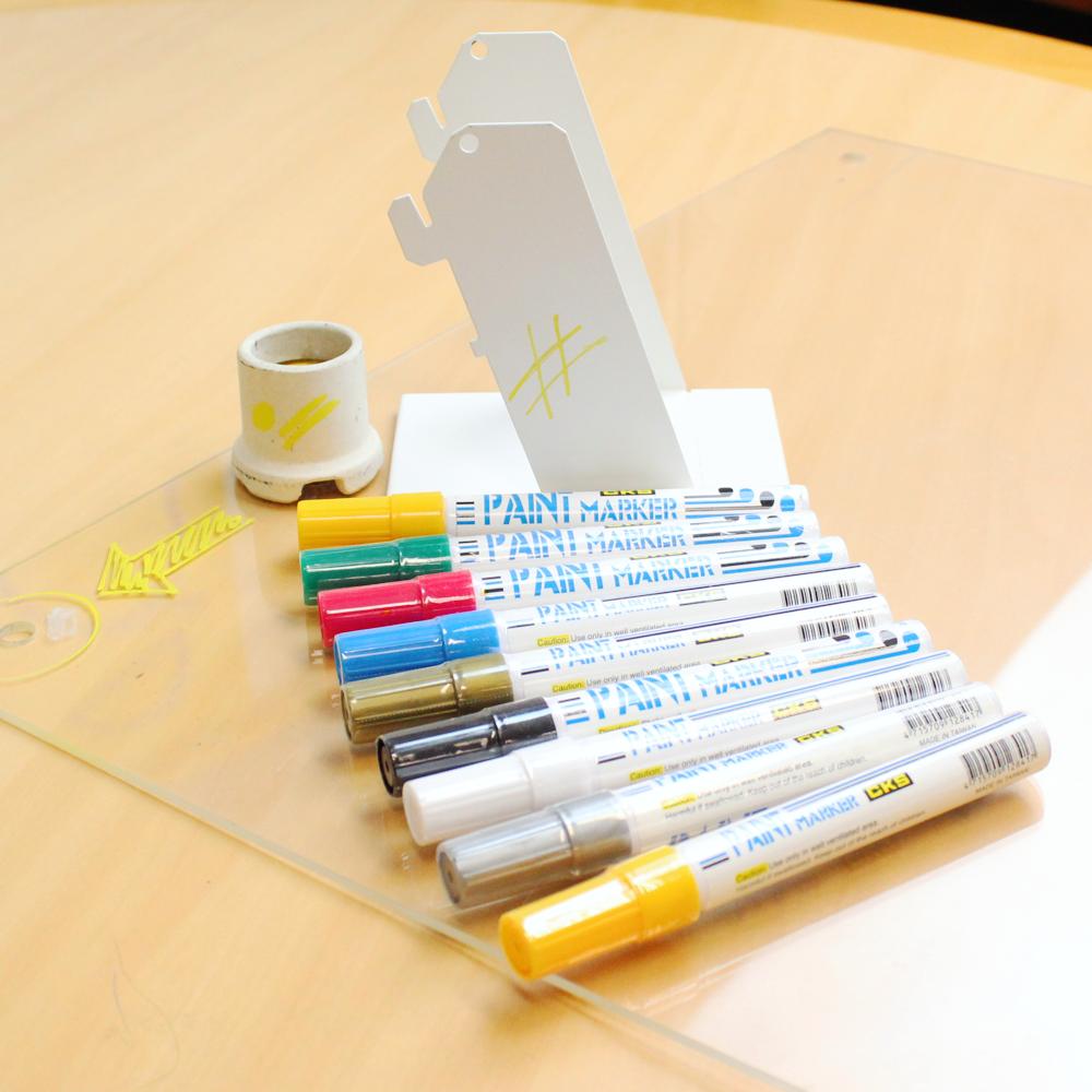 caneta-paint-marker-maracador-amarela-yeloow-peneu-acrilico-madeira-mesa-ferro-plastico-kit